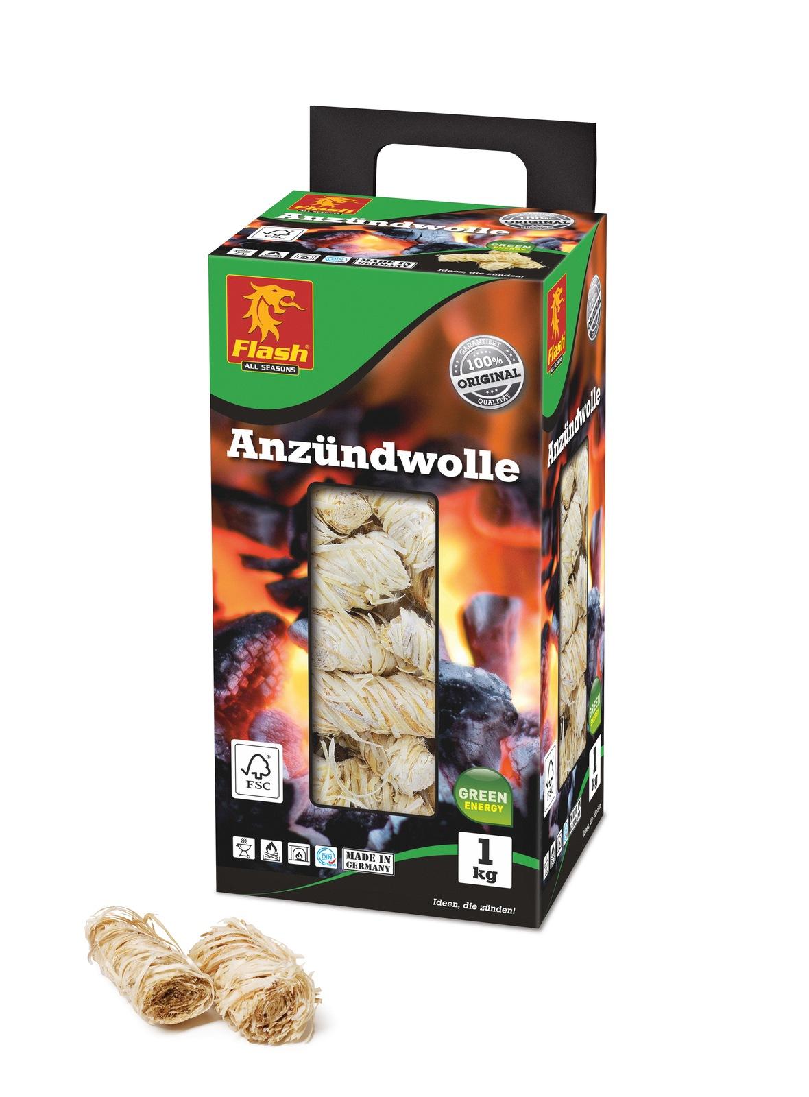 FLASH Anzündwolle 1kg Box
