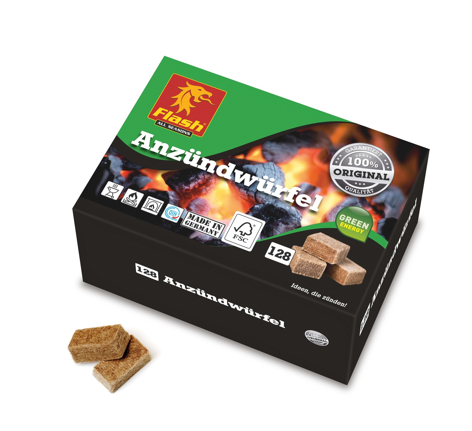 FLASH Anzünder Holz & Wachs 128 Würfel